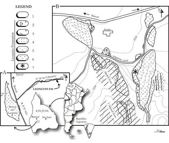 Figure 1. A. Location of the outcrop of the Leoncito Formation with fossils, Leoncito Encima, San Juan, Argentina. B. Geological map of the Leoncito Formation in the hamlet of Leoncito Encima: 1. Recent sediments, 2. Paraconglomerate, 3. Orthoconglomerate, 4. Sandstone, 5. Intercalation of sandstone and lutyte, 6. Lutyte / Mudstone, 7. Outcrop with anemones fossils.
